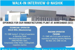 Walk in interview@ Intas pharma for multiple positions on 3 February