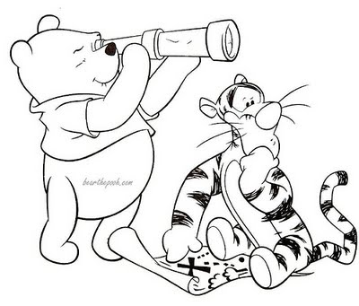 Cartoons Coloring Pages: Winnie the Pooh and Tigger