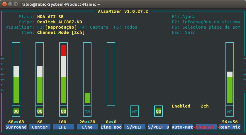 AlsaMixer no terminal com dois canais de áudio habilitados no item Modo de Canal.