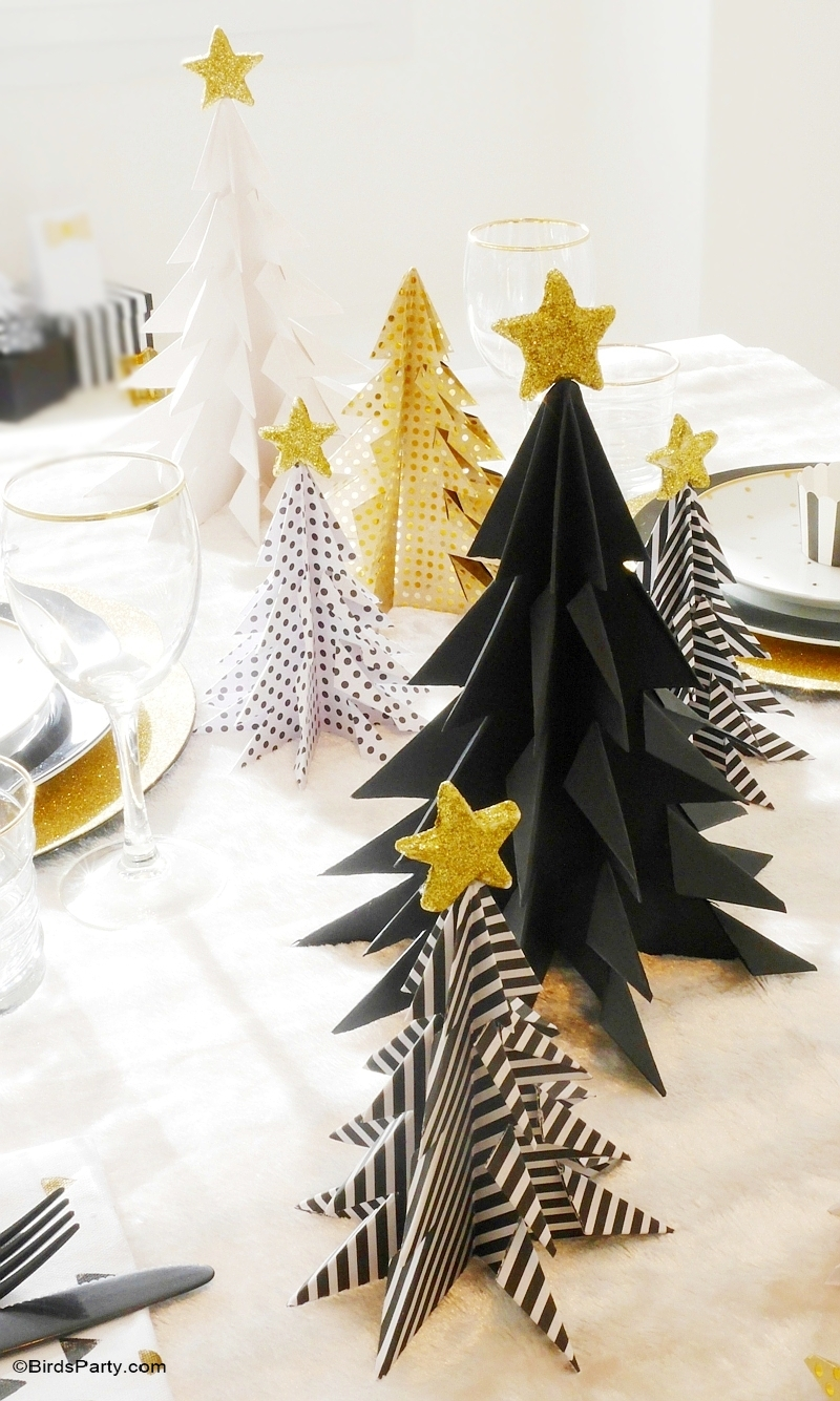 black gold geometric christmas holidays tablescape birdspartycom - Black And Gold Christmas Decorations