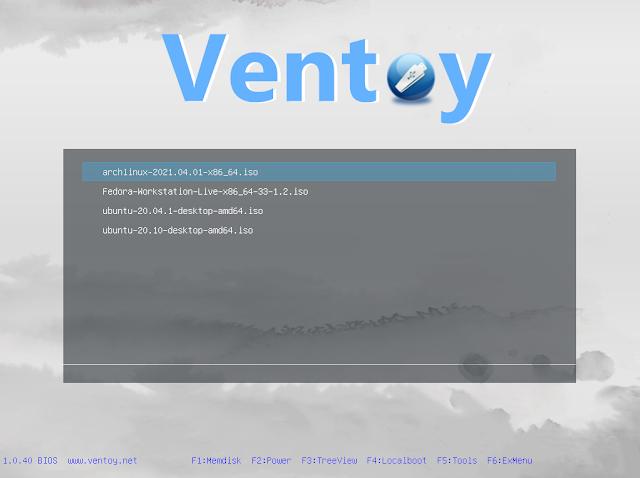 Ventoy Fedora Arch Linux Ubuntu