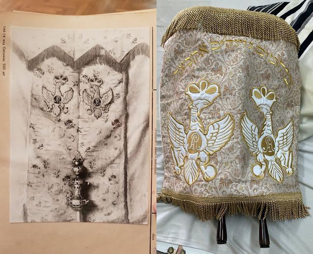 Po lewej oryginalna kurtyna na archiwalnym zdjęciu, po prawej kurtyna odrestaurowana jako płaszcz na zwój Tory