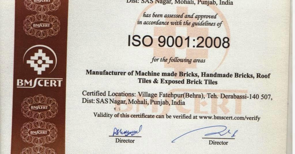 Bharat Bricks Company Iso 9001 2008 Certified Company