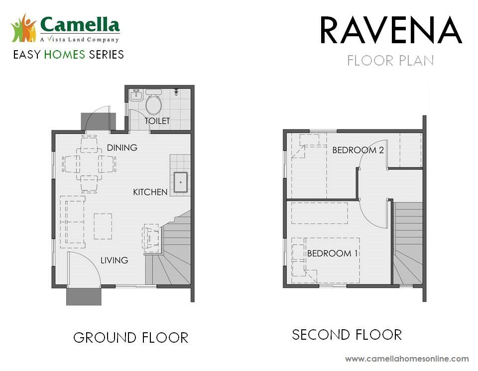Floor Plan of Ravena - Camella Belize | House and Lot for Sale Dasmarinas Cavite