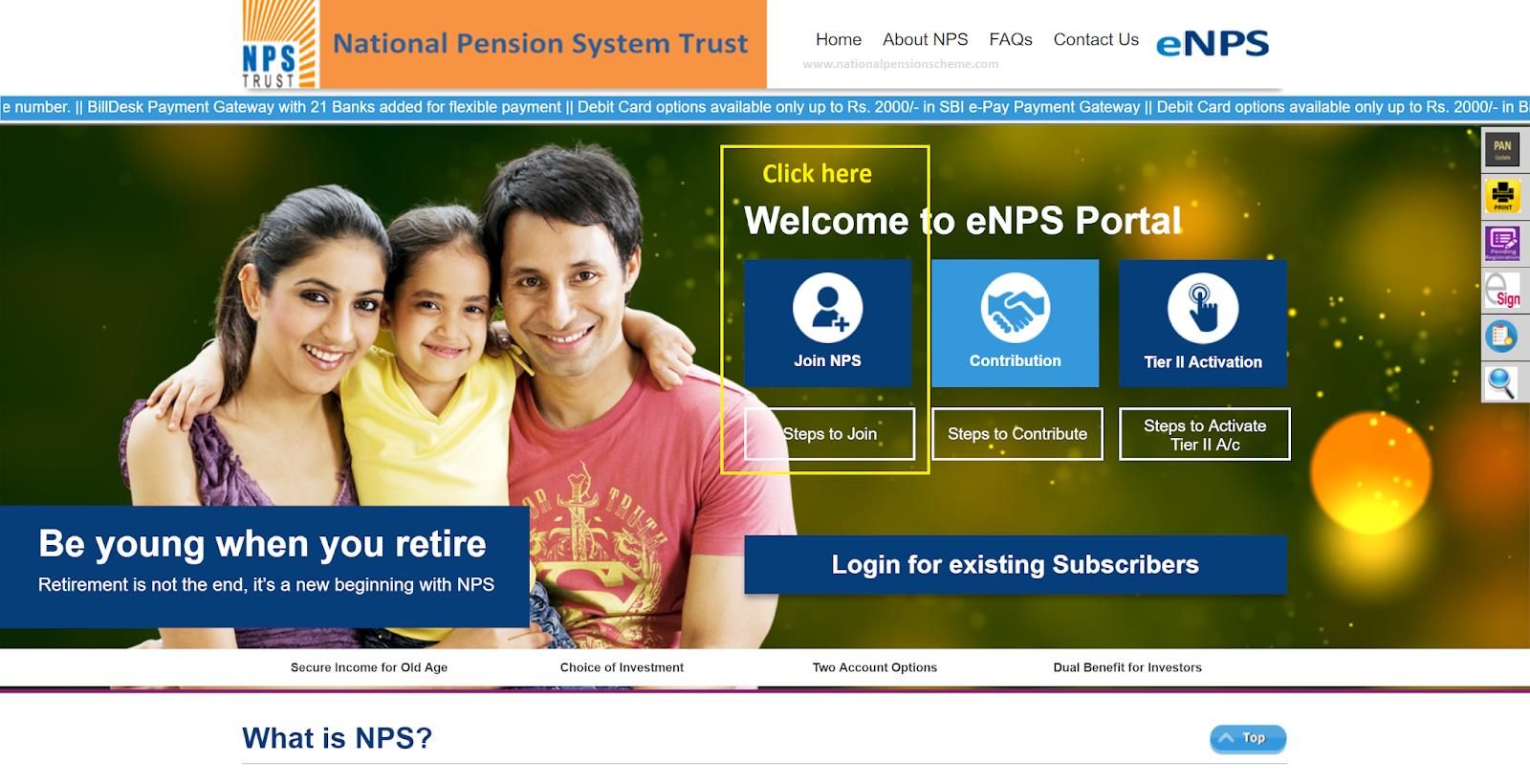 Screenshot of Karvy portal for opening eNPS account online
