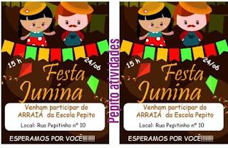 Convite festas juninas na escola pra imprimir grátis.