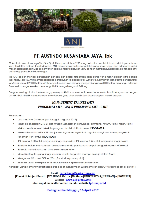 Lowongan Kerja PT Austindo Nusantara Jaya Program Management Trainee (MT)
