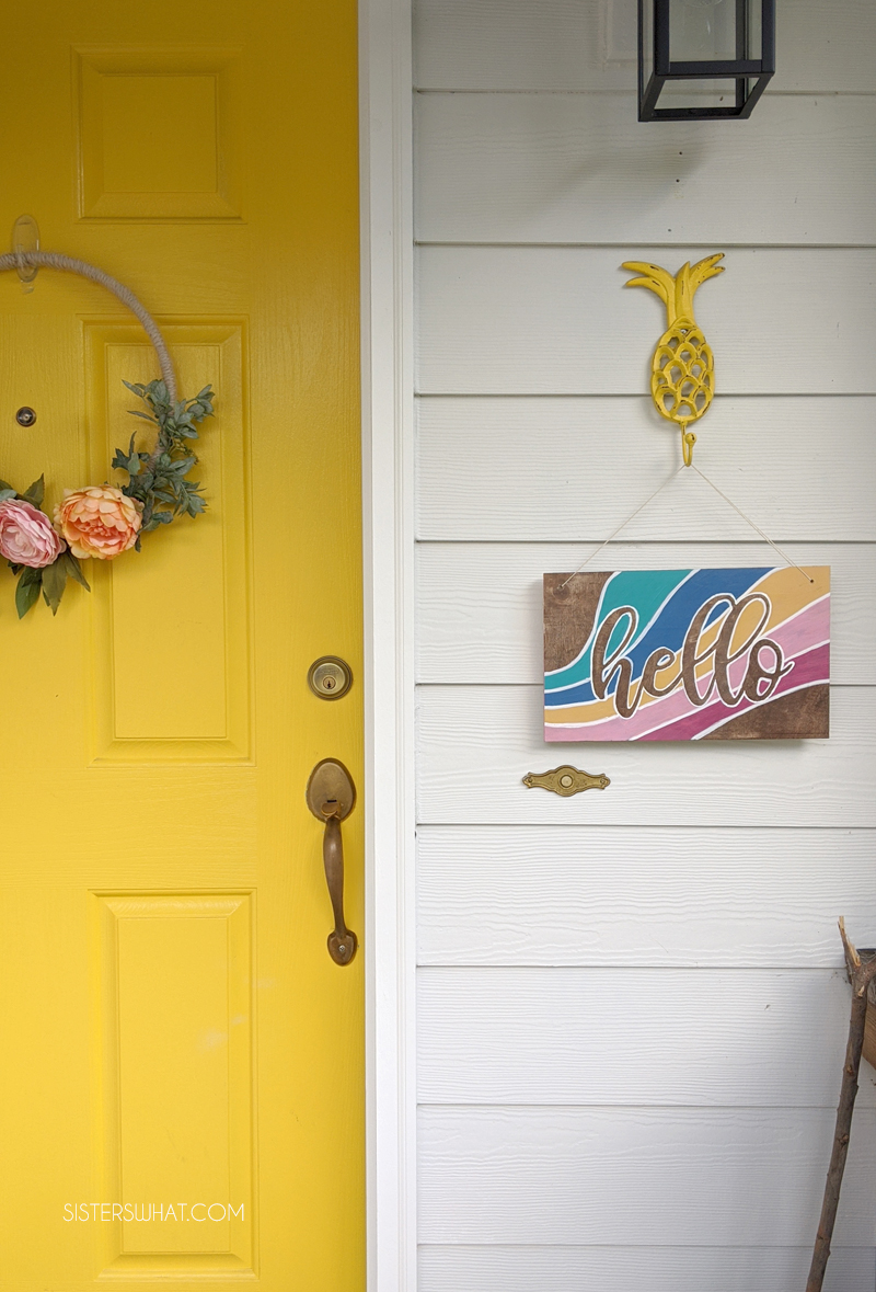 a colorful front door entry