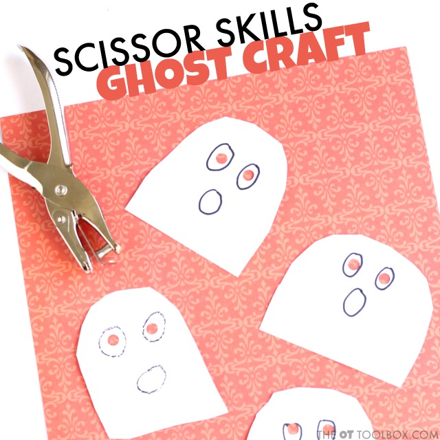 Use scissors and a hole punch to work on the fine motor skills and scissor skills with this ghost craft.