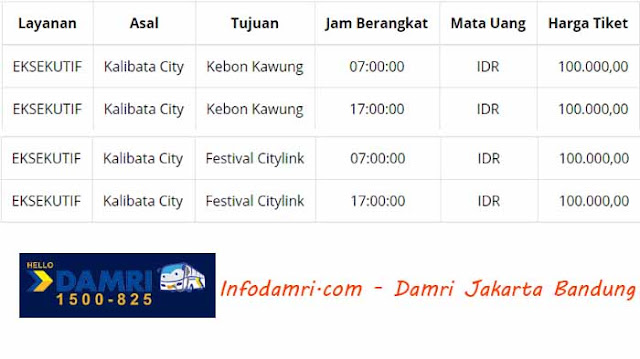 Damri Jakarta Bandung (Kalibata City – Kebon Kawung & Festival Citylink)