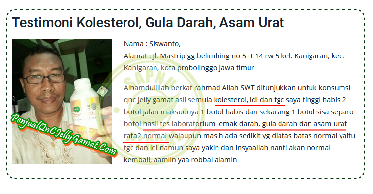 Obat Penurun Gula Darah Tinggi Tradisional Terbukti Mujarab ~ TESTIMONI QNC JELLY GAMAT