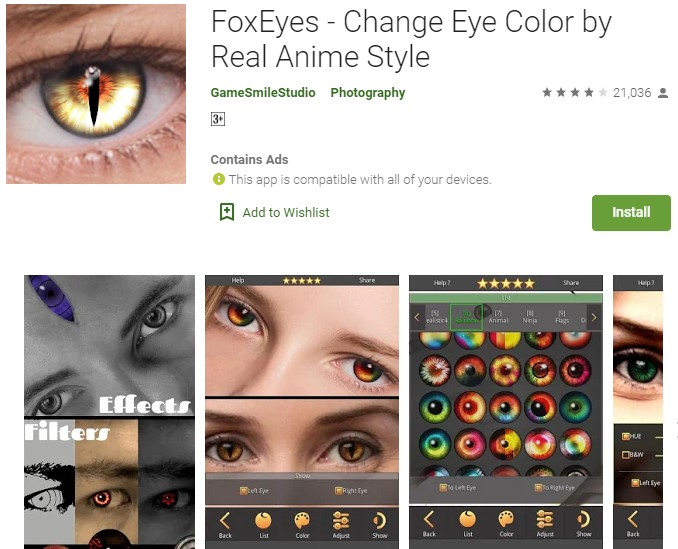 Aplikasi Pengubah warna Mata