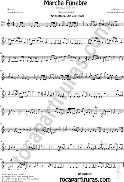 Marcha Fúnebre de Chopin Partitura Fácil de Clave de Sol Easy Sheet Music funeral March Flauta Recorder