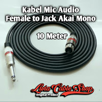 Kabel Mic XLR Audio Female To Jack Akai Mono Canon Canare 10 Meter