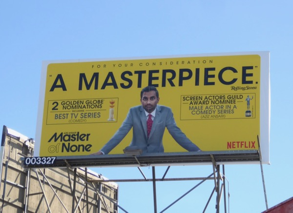 Master of None season 2 Golden Globe SAG Award billboard