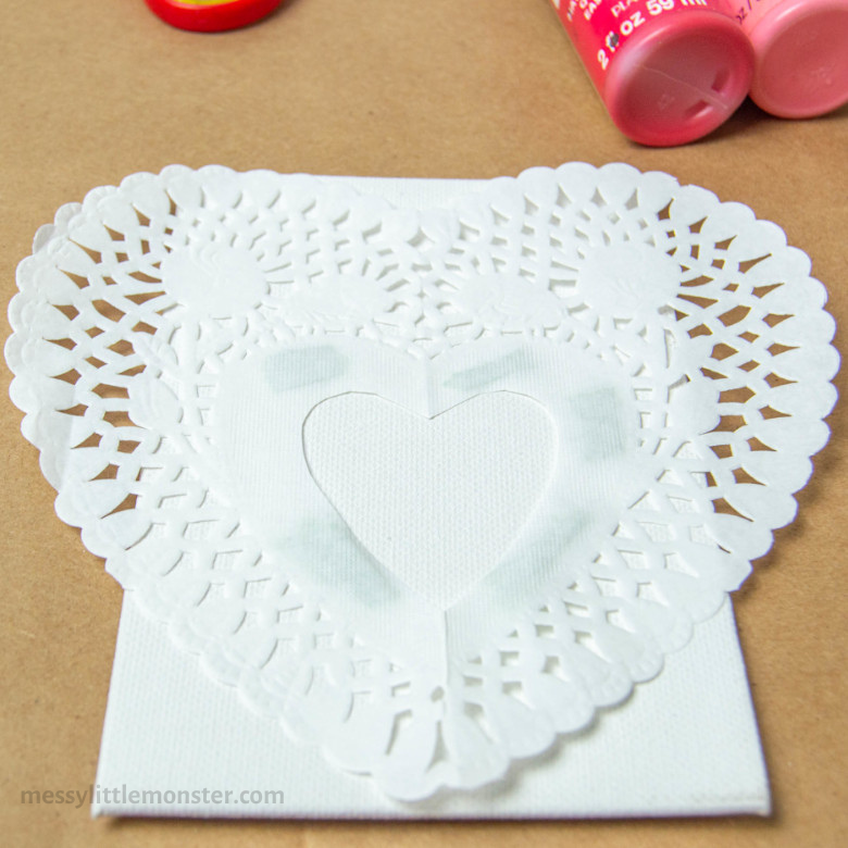 paper doily heart craft for kids