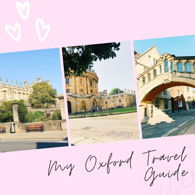 collage with pink background, photos of Oxford