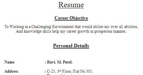 resume text format resume text format