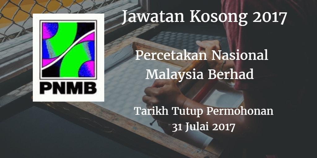 Jawatan Kosong PNMB 31 Julai 2017