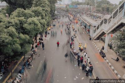 Kondisi Jalan saat Demonstrasi di Jakarta, Indonesia