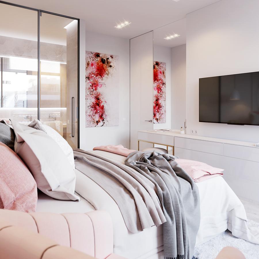 Mobiliario lineal dormitorio con zona tocador