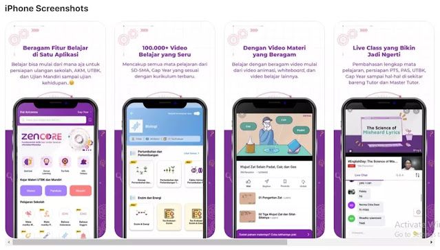 Download aplikasi Zenius yang bisa digunakan pada sistem operasi android maupun iOS