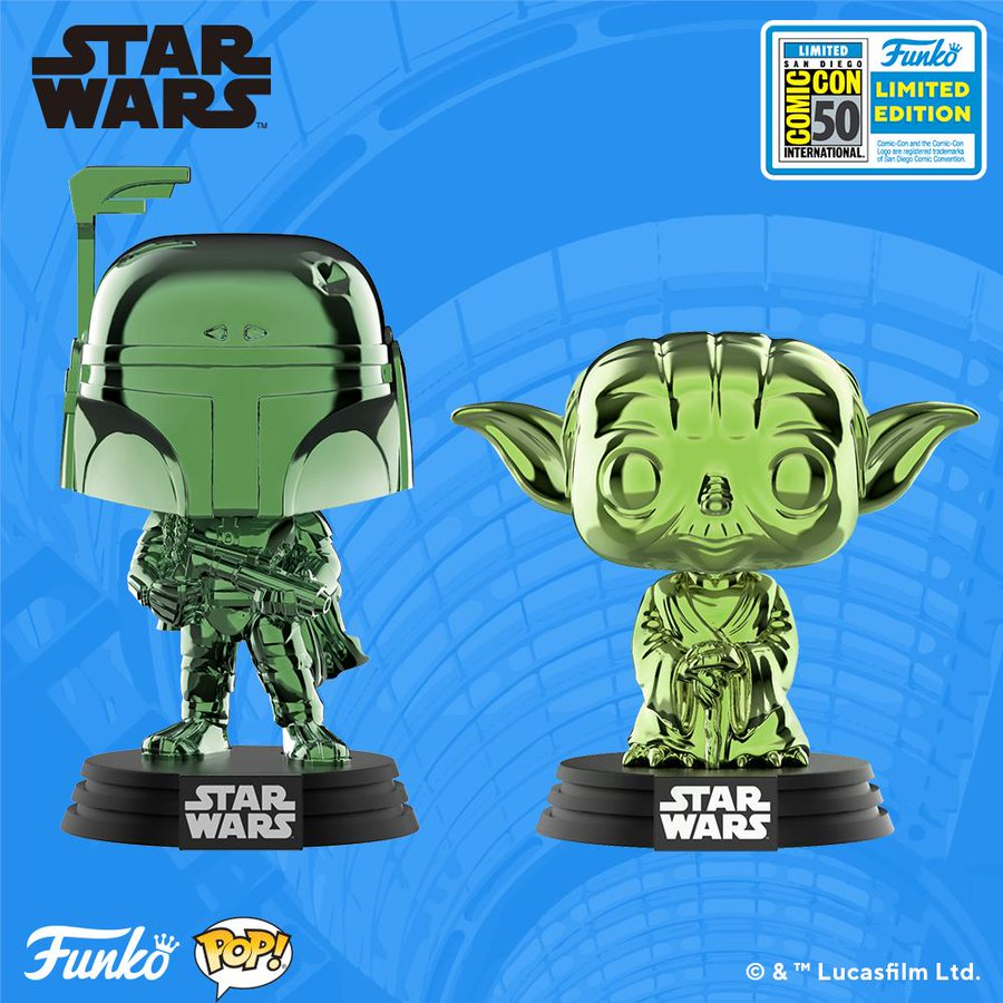 hot sale online cbb91 62488 San Diego Comic-Con 2019 Exclusive Star Wars Green Chrome POP! Vinyl  Figures by