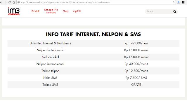 harga paket roaming indosat keluar negeri