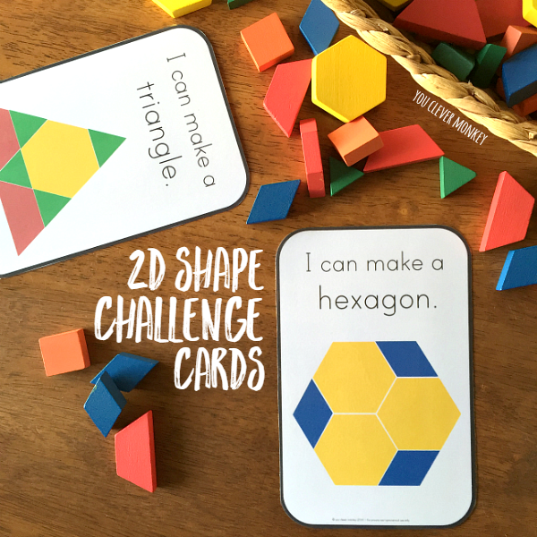 2D Shape Challenge Cards - add these printable cards to your pattern blocks to challenge young children. Four different cards making differentiation easy in your classroom | you clever monkey