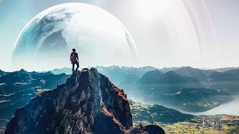 Mountain, Summit, Landscape, Nature, Moon, Scenery, 4K, #175