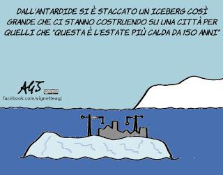 iceberg, larsen - c, antartide, ambiente, vignetta, satira