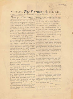 A copy of The Dartmouth, with the headline Damage Wide-Spread throughout New England.""