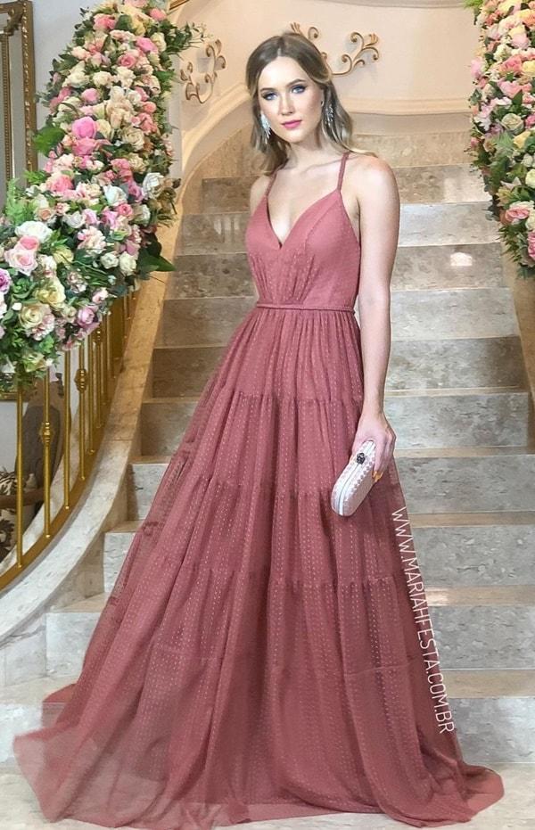 vestido rosa antigo para madrinha de casamento