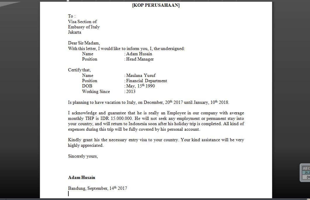 Contoh Surat Keterangan Kerja Untuk Visa Berbagi Berbagai Cara