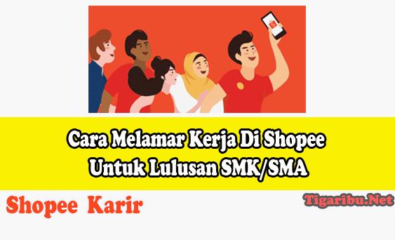 Cara Melamar Kerja Di Shopee – Shopee merupakan salah satu marketplace yang paling banyak digunakan di Indonesia dibandingkan kompetitor yang lainnya.   Sampai saat ini Shopee terus berkembang dan membuka lapangan kerja bagi yang membutuhkan.   Khusunya pada artikel kali ini kami membahas cara melamar kerja di Shopee untuk lulusan SMK/SMA untuk membantu Anda yang sedang membutuhkan pekerjaan.  Tips Melamar Kerja Di Shopee Untuk Lulusan SMK/SMA Cara Melamar Kerja Di Shopee Untuk Lulusan SMK/SMA  Di shopee Anda bisa mendapatkan pekerjaan sesuai minat dan keterampilan yang Anda miliki. Jika Anda saat ini sedang membutuhkan pekerjaan maka cobalah mulai dari sekarang untuk berkarir di Shopee.   Tips melamar kerja di Shopee untuk lulusan SMK/SMA telah ke uraikan di bawah ini, silahkan Anda membacanya dan segera melamar.  1. Lamar Pekerjaan Sesuai Keterampilan Anda Jelajahi peluang sesuai minat dan keterampilan yang Anda miliki lalu persiapkan Resume paling terbaru Anda sebelum melamar di Shopee. Berikan nomor telepon / handphone yang dapat dihubungi tim perekrut Shopee.  2. Wawancara Telepon Dengan Perekrut Shopee Persiapkan diri Anda untuk menjelasakan pengalaman dan keterampilan yang Anda miliki saat mengikuti wawancara.  Kemudian Anda juga disarankan untuk mempelajari lebih banyak tentang Shopee karena tim perekrut shope akan menilai pengalaman wawasan Anda tentang hal tersebut  3. Mengikuti Tes Online (Jika Ada) Gunakan keterampilan Anda sebaik mungkin pada saat mengikuti tahap tes keteramilan. Pada tahap ini Anda akan diuji sesuai keterampilan yang telah Anda pilih pada saat melamar  4. Wawancara Dengan Tatap Muka Dengan Hiring Manage Shopee Pada tahap ini Anda harus mempersiapkan untuk menjawab pertanyaan tentang perilaku, hipotetis (anggaran dasar), dan studi kasus sesuai dengan posisi yang telah Anda pilih.  5. Tunggu Kabar Baik Setelah tahap pertama hingga tahap keempat telah Anda lalui maka selanjutnya Anda diminta untuk menunggu hasil lamaran kerja yang telah A