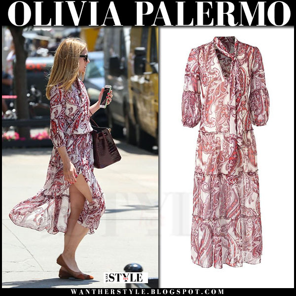 Olivia Palermo in burgundy paisley chiffon dress chelsea28 what she wore streetstyle