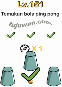 Jawaban Temukan Bola Ping Pong Brain Out di level 151