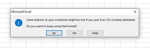 Warning message we get when save as CSV file