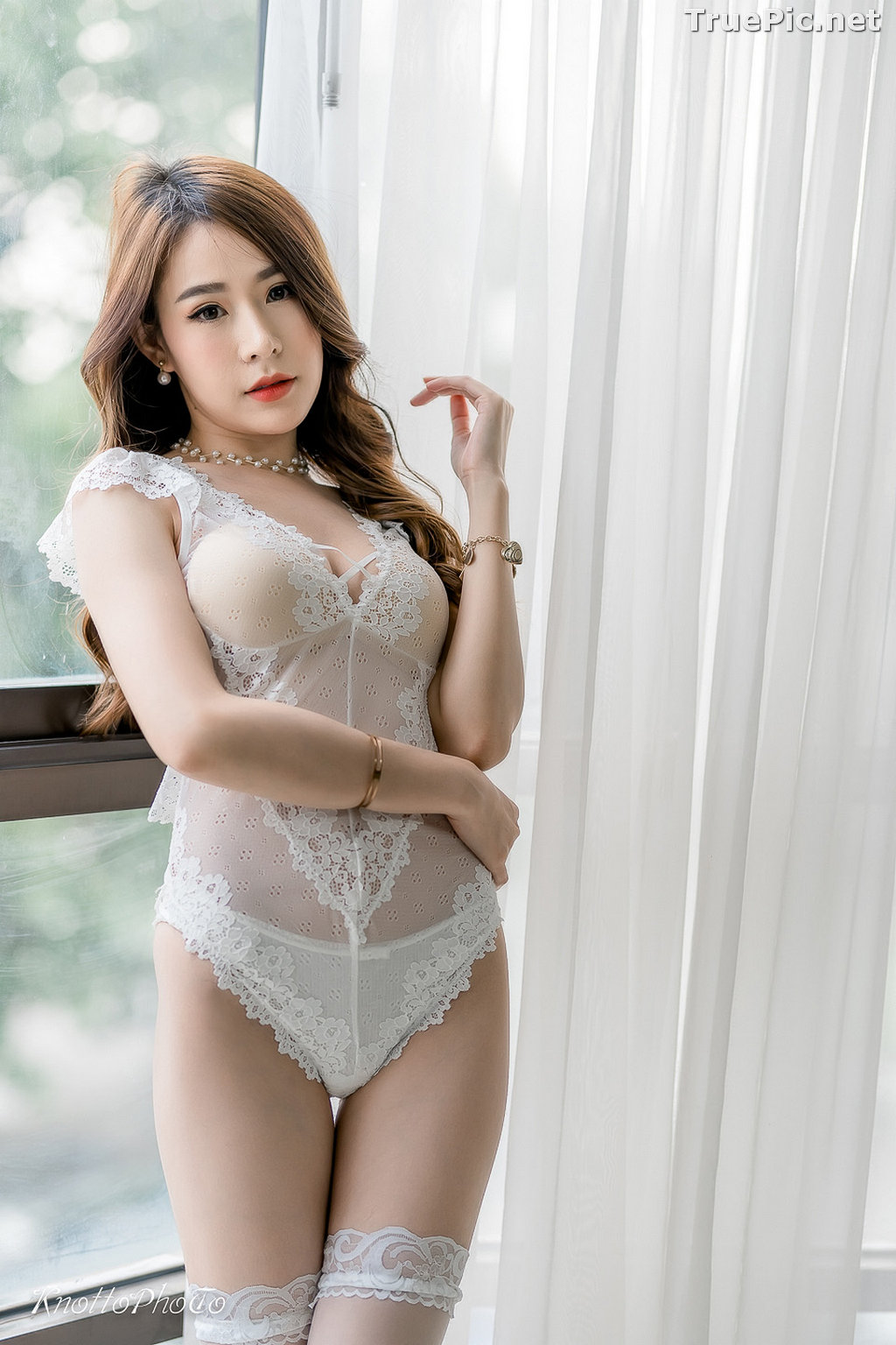 Image Thailand Hot Beauty Model - Thipsuda Jitaree - White Lace Underwear - TruePic.net - Picture-5