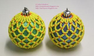 Ёлочный шарик из бисера