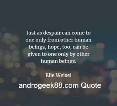 Just as despair can come to one only from other human beings, hope, too, can be given to one only by other human beings