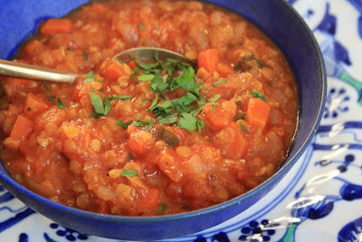 Easy lentil soup with tomatoes, carrots and a little marjoram
