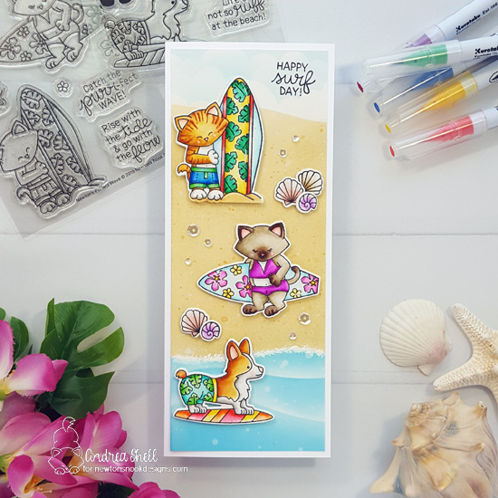 Slimline Beach Scene Card by Andrea Shell | Newton's Perfect Wave and Corgi Beach Stamp Sets by Newton's Nook Designs