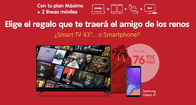 Telecable promoción Navidad Samrt TV o Samsung Galaxy A7