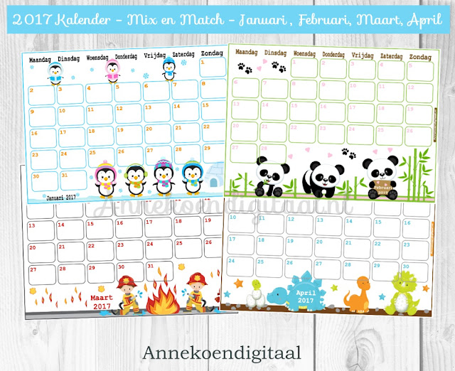 kalender 2017, kalender voor kinderen, familie kalender, kalender printen, leuke kalender, kleuter kalender