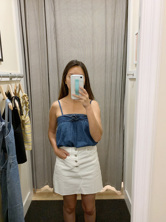 madewell denim top and skirt