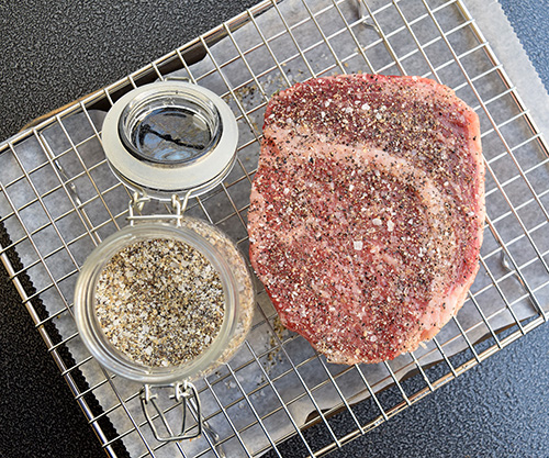 I seasoned the ribeye steak with the Santa Maria Rub posted online at Certified Angus Beef Brand's website.