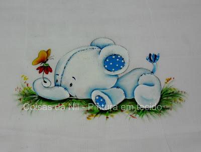 pintura em tecido fralda com elefantinho
