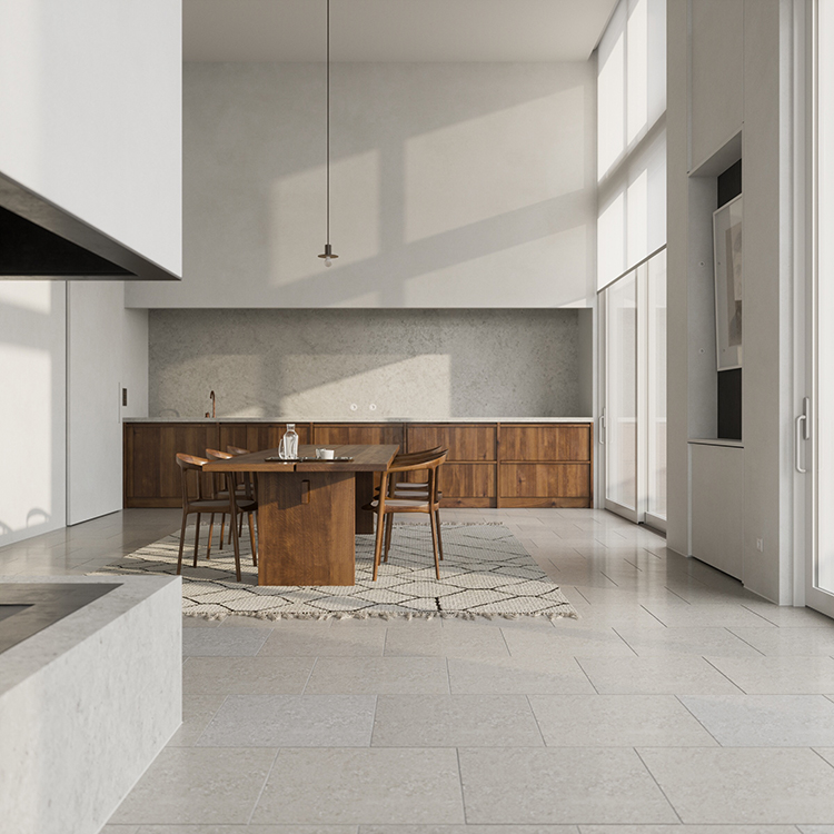 Contemporary minimalistic home in Antwerp designed by David Chipperfield Architects and the interiors by Hans Verstuyft Architects as modeled by Bertrand Benoit