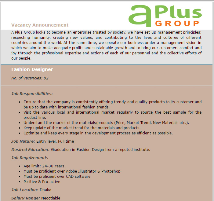Vacancy A Plus Group Post Name Fashion Designer Job Opportunity